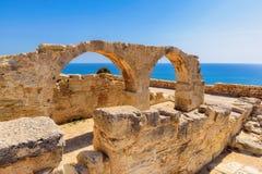 Gamla grekiska bågar fördärvar staden av Kourion nära Limassol, Cypern Arkivbilder