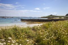 Gamla Grimsby, Tresco, öar av Scilly, England Arkivfoto