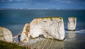 Gamla Harry Rocks med Bournemouth i bakgrunden nära Swanage, Dorset, UK royaltyfria foton