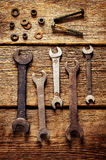 Gamla hjälpmedel, skiftnycklar Fotografering för Bildbyråer