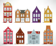 8 gamla hus Arkivfoto
