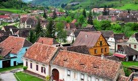 Gamla hus av den Biertan staden, Rumänien Royaltyfri Fotografi