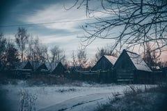 Gamla hus i byn arkivbild