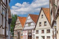 Gamla hus i den historiska mitten av Blomberg Royaltyfri Fotografi
