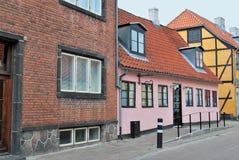 Gamla hus i Helsingor, Danmark Fotografering för Bildbyråer