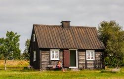 Gamla hus i Island Arkivbild