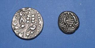 Gamla indiska silverpengar Fotografering för Bildbyråer