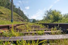 Gamla järnvägspår i naturslut upp royaltyfria foton