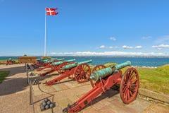 Gamla kanoner i den Kronborg slotten Helsingor denmark arkivbild
