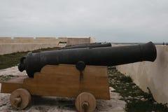 Gamla kanoner i linje över en träplattform royaltyfri fotografi