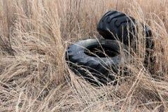 Gamla kasserade traktorgummihjul Royaltyfri Fotografi