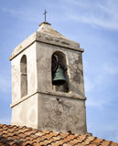 Gamla Klocka på kyrkan Arkivfoton