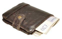 Gamla läderplånbok och sedlar Royaltyfri Bild