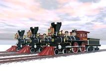 Gamla lokomotiv stock illustrationer