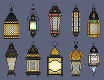 Gamla lyktor för Ramadan och lampor av arabisk stil göra sammandrag för knappfärger för bakgrund den blåa vektorn för skölden gla stock illustrationer