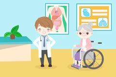 Gamla människor med doktorn royaltyfri illustrationer