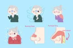 Gamla människor med sjukt problem stock illustrationer