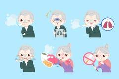 Gamla människor med vård- begrepp vektor illustrationer