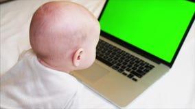 6 gamla månader behandla som ett barn pojken ligger på säng framme av bärbara datorn med chromatangentskärmen arkivfilmer