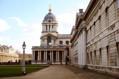 Gamla marinkontorssöder av London som bygger en del av det Greenwich universitetet Fotografering för Bildbyråer