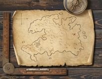 Gamla medeltida piratess översikt med kompasset Affärsföretag- och loppbegrepp illustration 3d stock illustrationer