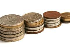 Gamla mynt av olik valuta från Europa Royaltyfria Bilder