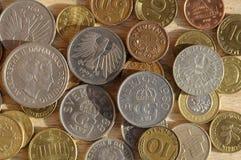 Gamla mynt från nordiskt och Österrike och tysk och brittisk schelli Royaltyfria Bilder