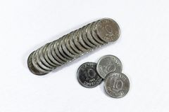 Gamla mynt, mynt, vit bakgrund, brasilian Royaltyfri Foto