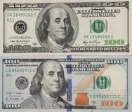 Gamla och nya 100 dollarräkningar och sedlar, den främre sidan Royaltyfria Bilder