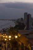 Gamla och nya Guayaquil på natten, Ecuador Arkivfoto