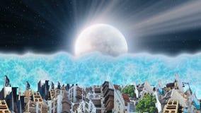 Gamla och nya jeddah på natten med tsunamin stock illustrationer