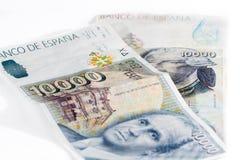 Gamla pappers- pengar för Spanien tappning på en vit bakgrund Arkivfoton