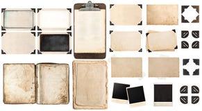 Gamla pappersark, bok, tappningfotoramar och hörn, antiqu