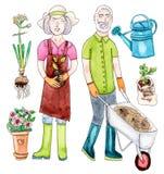 Gamla par för vattenfärg med trädgårduppsättningen Arkivfoto