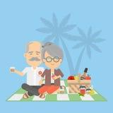 Gamla par på picknick vektor illustrationer