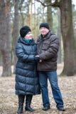 Gamla par som tillsammans går i skogen som har en bra tid Le och samtal på höst eller våren Royaltyfri Bild