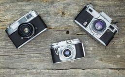 Gamla parallella kameror Arkivbilder