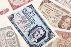 Gamla polska pengar, en bakgrund royaltyfri fotografi