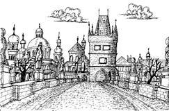 Gamla Prague Charles Bridge Sketch Fotografering för Bildbyråer