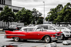 Gamla röda klassiska chevrolet Fotografering för Bildbyråer