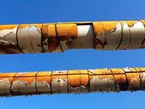 gamla rör av ovanför-malt värma huvudsakligt i värmeapparat Royaltyfria Bilder