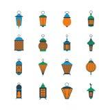 Gamla ramadan islamiska lyktor, arabisk lampvektoruppsättning vektor illustrationer