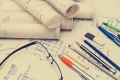 Gamla ritningplan Fotografering för Bildbyråer