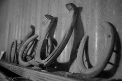 Gamla rostiga hästskor Arkivbild