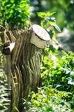 Gamla Rusty Pot On The Fence Royaltyfri Foto
