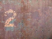 Gamla Rusty Steel Door Number 2 Royaltyfri Fotografi