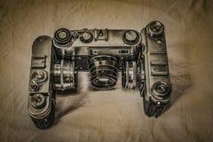 Gamla ryska parallella filmkameror med manuell styrning Arkivbild