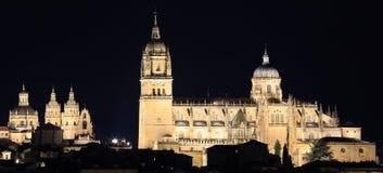 Gamla Salamanca och nya domkyrkor som är upplysta på natten arkivbild