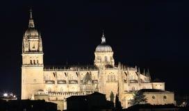 Gamla Salamanca och nya domkyrkor som är upplysta på natten fotografering för bildbyråer