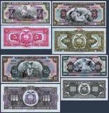 Gamla sedlar av 5, 20, 100 och 1000 sucres av centralbanken av Ecuador Royaltyfri Foto